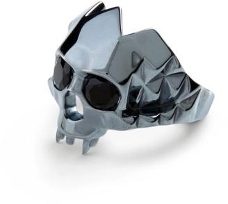 Ring Black Vampire Skull Oxidised Silver