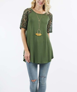 Lydiane Women's Tunics ARMY - Army Green Crewneck Lace-Sleeve Curved-Hem Tunic - Women