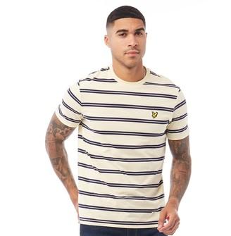 Lyle And Scott Vintage Mens Wide Double Stripe T-Shirt X80 Buttercream