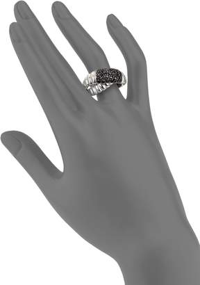 John Hardy Bedeg Black Sapphire & Sterling Silver Crossover Ring