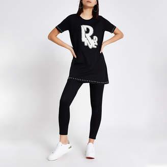 River Island Black River embellished oversided T-shirt