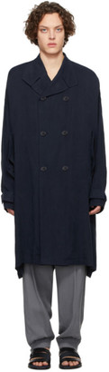 Giorgio Armani Navy Cupro Double-Breasted Trench Coat
