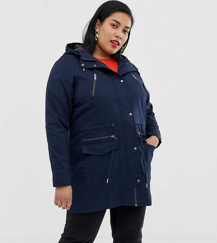 Junarose Zip Detail Jacket in navy