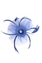 Quiz Blue Jewel Feather Fascinator