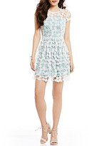 B. Darlin Cap Sleeve Two-Tone Lace Skater Dress