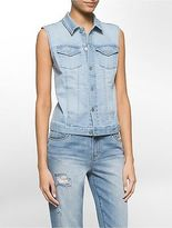 Calvin Klein Womens Denim Trucker Vest Jacket