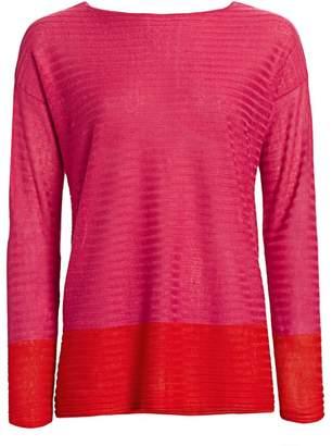 Saks Fifth Avenue Silk Linen Colorblock Top