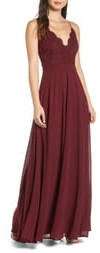 Lulus Madalyn V-Neck Lace & Chiffon A-Line Gown
