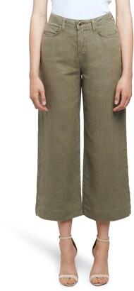 L'Agence Danica High Waist Wide Leg Crop Linen Pants