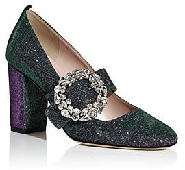 Sarah Jessica Parker Women's Celine Glitter Mary Jane Block Heel Pumps
