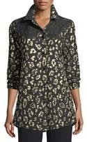 Caroline Rose Golden Leopard-Print Boyfriend Shirt, Petite