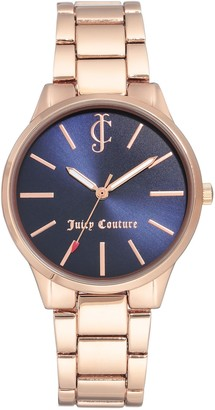 Juicy Couture Rosetone Watch w/ Navy Sunray Dial