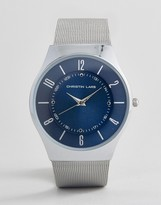 Christian Lars Silver Bracelet Watch With Round Navy Dial