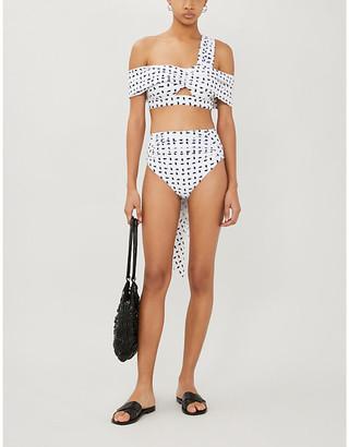 Self-Portrait Sail-print draped bikini top