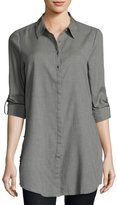 Neiman Marcus Roll-Tab Side-Slit Blouse, Gray