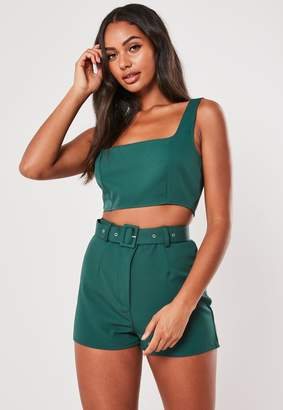 Missguided Teal Co Ord Super Scoop Crop Top