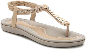 BEIGE Siketu Women's Sandals  Metallic Rhinestone T-Strap Sandal - Women