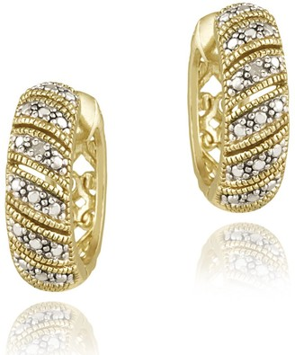 DB Designs 18k Yellow Gold over Silver Crescent Diamond Accent Hoop Earrings
