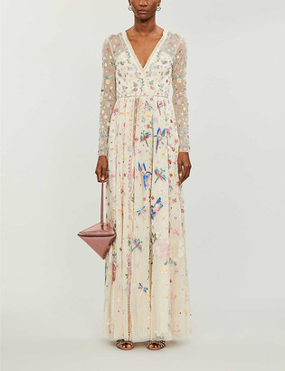 Needle And Thread Needle & Thread x Jasmine Hemsley Elements embroidered recycled-tulle gown