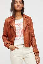 Free People Washed Leather Moto Jacket