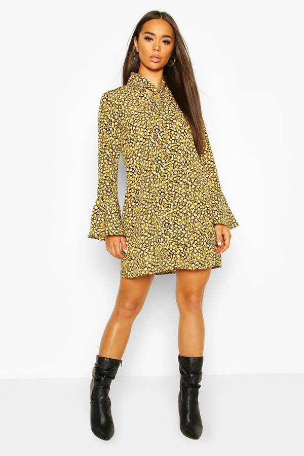 boohoo Animal Print Pussy Bow Shift Dress