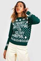 boohoo Eva Merry Christmas Ya Filthy Animal Jumper bottle
