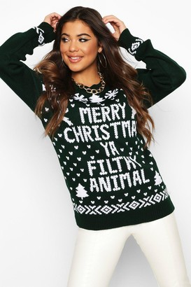 boohoo Merry Christmas Ya Filthy Animal Sweater