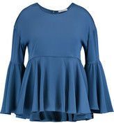 Milly Kat Asymmetric Ruffled Silk-Blend Cady Peplum Blouse