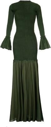 ESCVDO Women's Tsuma Ruched Maxi Dress With Hand Embroidery - Green/navy - Moda Operandi
