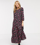 New Look tiered smock dress in pink floral