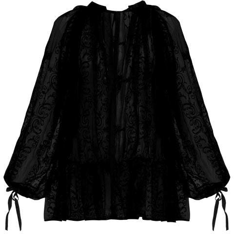 Ann Demeulemeester Floral Embroidered Cotton Voile Blouse - Womens - Black