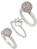 Betsey Johnson Pave Ball & Stone Ring/Set of 3