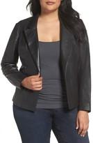 Sejour Plus Size Women's Leather Blazer