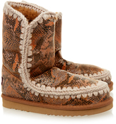 Mou Eskimo Python Print Short Shearling Boot