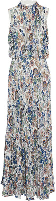 Mikael Aghal Cold-shoulder Pleated Floral-print Crepe De Chine Maxi Dress