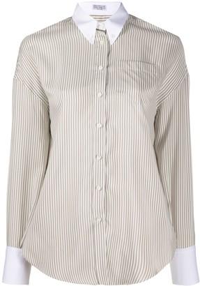 Brunello Cucinelli Contrast Collar Striped Silk Shirt