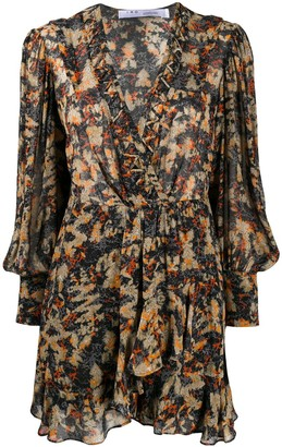 IRO Abstract-Print Ruffled Dress