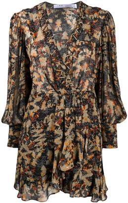 IRO Abstract-Print Ruffled Dress