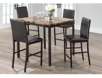 Winston Porter Hosier Marble Top Dining Table Base Color: Black, Top Color: Brown