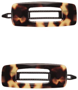 France Luxe Mini Cutout Rectangle Tige Boule Barrette