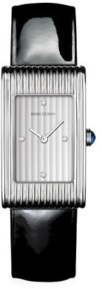 Boucheron Reflet Steel, Diamond & Patent Leather Strap Medium Watch