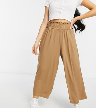 ASOS DESIGN Petite culotte pant with shirred waist in sand