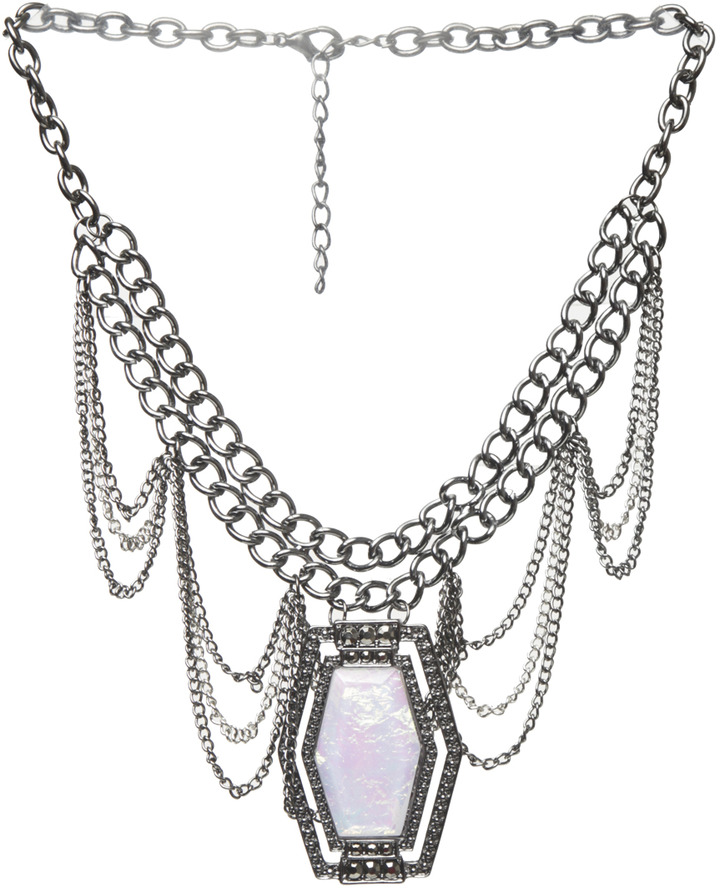 Arden B Loop Chain Opal Pendant Necklace