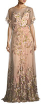 Marchesa Embroidered Tulle Flutter Sleeve Evening Gown