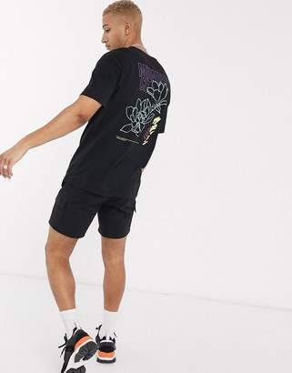 Jack and Jones Originals boxy t-shirt with flower back print in black
