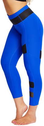 90 Degree By Reflex Women's Leggings ROYBK - Royal Blue & Black Mesh-Panel Capri Leggings - Women