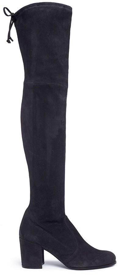 Stuart Weitzman 'Tie Land' stretch suede thigh high boots