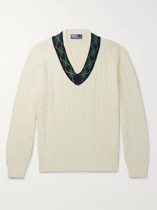 Polo Ralph Lauren Argyle-Trimmed Cable-Knit Cotton And Cashmere-Blend Sweater