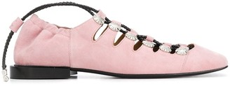 Toga Pulla Studded Lace-Up Ballerinas