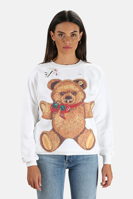 R 13 Punk Teddy Bear Crewneck Sweatshirt